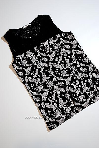 майка узор ажурная вышивка черная бренд TU M женская орнамент
