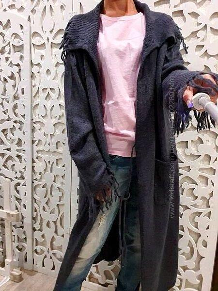 Кардиган XXL 3XL 2XL серый длинный с карманами украшен шерсть мохер