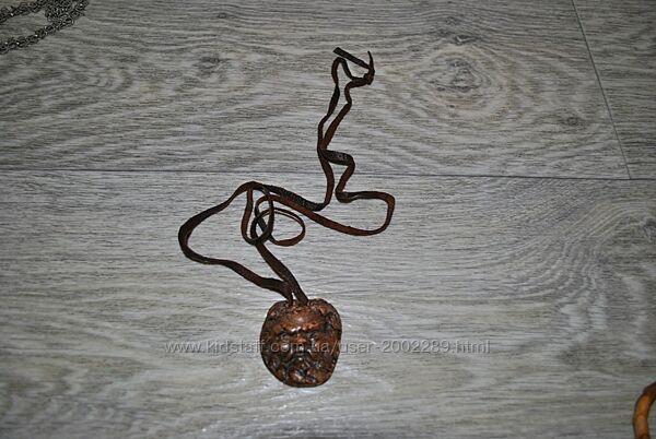 Антикварный кулон из кожи и камня с клеймом старинный подвеска натуральный
