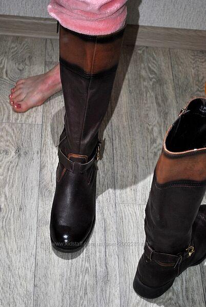 Сапоги итальянские кожаные демисезон коричневые 38 высокие натуральные