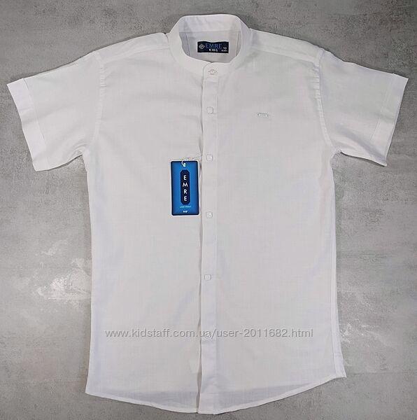 Рубашка шведка приталенная мальчикам лен-коттон 134-158/164Турци