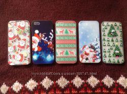Новогодние бамперы для iPhone 5, 5S силиконовые