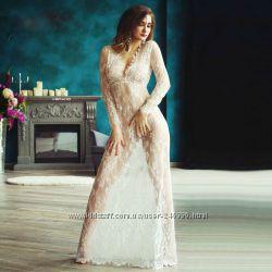 Кружевное платье длинное белое