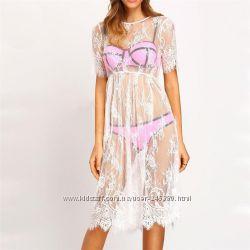 Кружевные платья пляжные туники белые