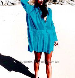 Рубашка бирюзовая платье туника пляжная