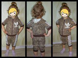 Летний костюм на девочку леопардовый.