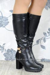 Стильные кожаные зимние сапоги