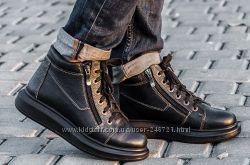 Стильный зимние ботинки марсала и черный, все размеры