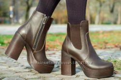 Ультрамодные зимние ботиночки, натуральная кожа