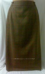 Шерстяная юбка в мелкую клетку. 48-50размер