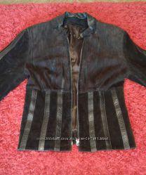 Кожаная куртка с замшевыми встравками