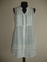 Блуза хлопок с кружевом-прошвой белый, черный, кофейный цвета