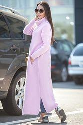 Пальто свитер трикотаж розовое YAVORSKY