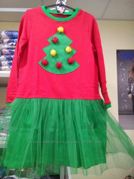 Новогоднее платье Елочка, Олень  и Единорог от ТМ Видоли