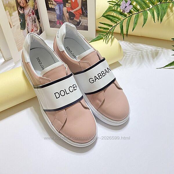 Кожанные брендовые кроссовки Dolce&Gabbana