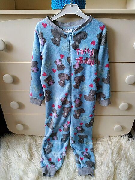 Tu махровый слип человечек кигуруми пижама с мишкой тедди р.110-116