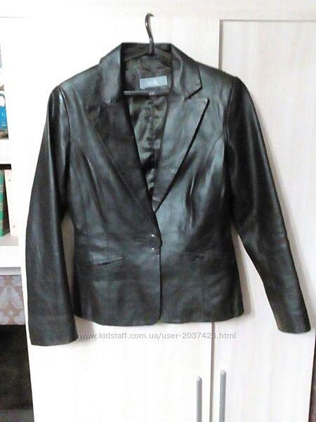 Пиджак натуральная кожа бренд wallis цвет черный шоколад размер 12или м