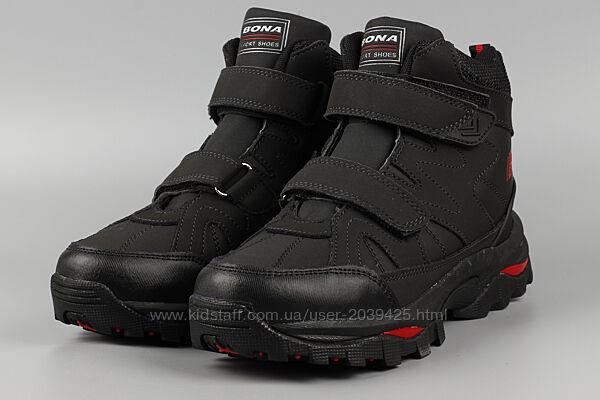 Ботинки детские черные кожаные bona 857g-9 бона р. 31-36