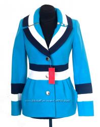 Укороченное голубое пальто р. L 44-46