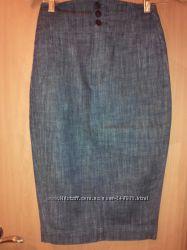Высокая джинсовая юбка-карандаш victorias secret, размер 2
