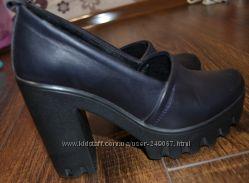 Кожанные стильные туфли