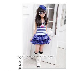 В наличии Полосатое нарядное платье сарафан -морячка туту синее розовое