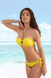 В наличии Красивенный желтый полосатый купальник бандо без пуш-ап