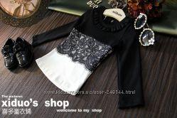 Распродажа Очень красивая нарядная кофточка реглан с кружевом черно-белая