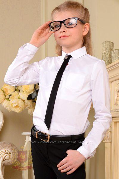 Распродажа Белая блуза рубашка с галстуком с длинным рукавом в школу
