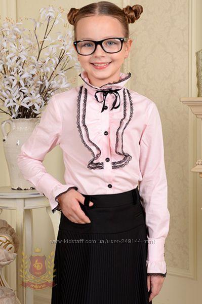 Распродажа Розовая блуза рубашка с жабо с длинным рукавом в школу