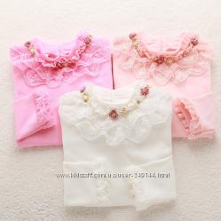 Белая нарядная блузка блуза гольф реглан с кружевом р. 120-160