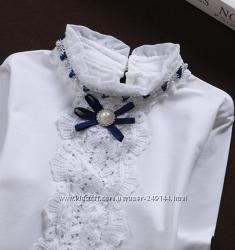 Нарядная блузка в школу с кружевом р. 80-160
