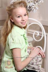Распродажа Салатовая блуза рубашка жабо с коротким рукавом школу девочкам