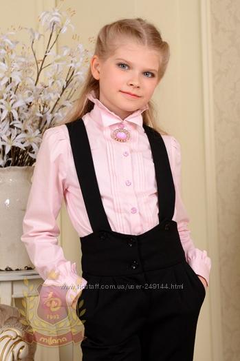 Распродажа Блуза в школу со стойкой и брошкой розовая Милана