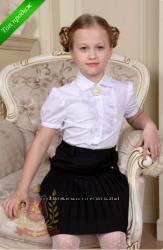 Распродажа Белая блуза рубашка в школу девочкам Тм Милана р. 116