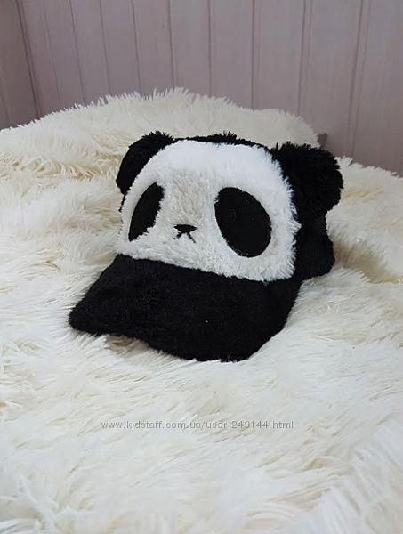 Теплая кепка с мехом панда для девочки или мальчика