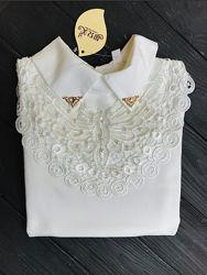 Нарядная блузка в школу с кружевом и бисером