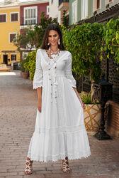 Новинка шикарное белое длинное платье с кружевом код 042