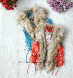 Распродажа Кожаные жилетки с мехом