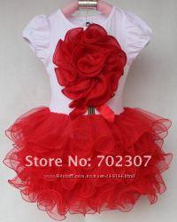 В наличии Красивенные нарядные платья с юбкой ту ту с 3Д цветком