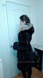 Королевская норковая шуба капюшон суперMagic FursНорка рысьпояс Зима близко