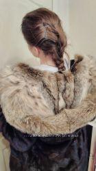 Норковая шуба норка капюшон рысь халат поперечка пояс 42-44 Идеальное
