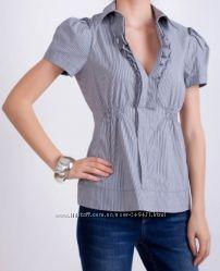 Офисная блуза в бело-синюю полоску  Oasis 38 р.