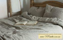 Постельное белье из серого обычного льна белорусского комбината