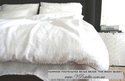 Постельное белье из белого льна Снежная королева натуральный лён