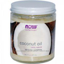 Кокосовое масло для лица и волос Now Foods, 207 мл