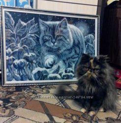 Картина вышитая бисером 76 на 54 см Лунный кот ручная работа
