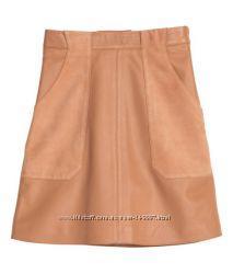 Новая бежевая кожаная юбка H&M премиум качества S-XS 36 размер