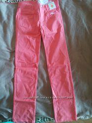 новые джинсы GYMBOREE  кораллового цвета и утепленные лосины на 12 лет