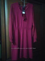 Платье нарядно-повседневное цвета марсал М-Л размер